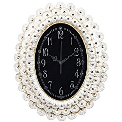 Fancy Elegant Ethnic Luxury Wall Clock W14H17 Inch Battery Powered Non Ticking Peacock Feathers Diamond Illuminated Unique Sculpture White European Oval Resin Decorative Living Room Office ZJART