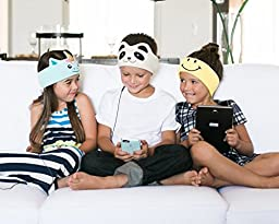 CozyPhones Kids Headphones Volume Limited with Ultra-Thin Speakers & Super Comfortable Soft Fleece Headband - Perfect Children\'s Earphones for Home and Travel - IVORY PANDA