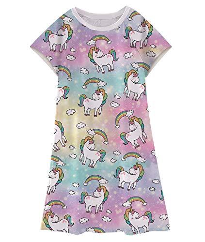 Enlifety Little Girls Rainbow Unicorn Sundresses Cap Sleeve Dress for Nightwear 5-6T