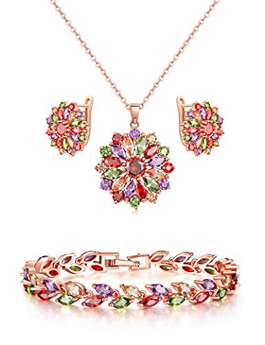 (Lujuny Necklace Earring Bracelet Jewelry Set - AAA Zircon Rose Gold Flower Pendant Ear Stud and Leaf Link Bangle (Rainbow Set 7.5))