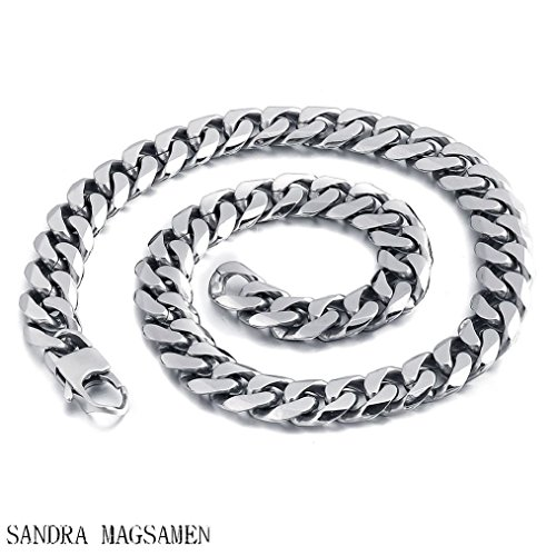 - SANDRA Mens Jewelry Silver Stainless Steel Cuban Curb Link Necklace Chain Wide 8mm 9mm 11mm 13mm-11mm 9inch