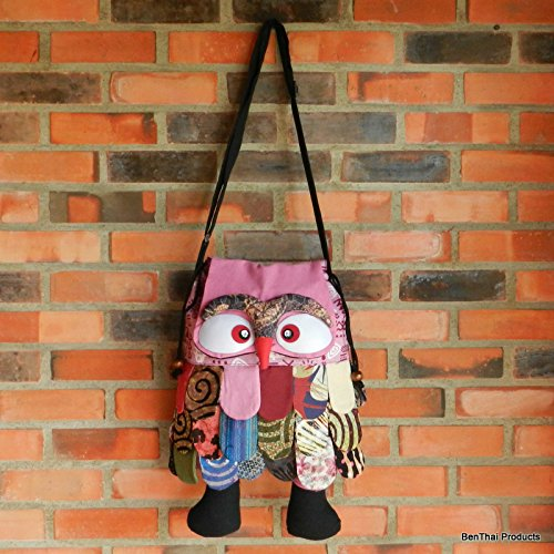 BTP Patchwork Pinks Hipster Tone Handbag Color Unique Handmade Girls Men Cute for Bag Owl Boys Women Crossbody Assorted SrqRgSwC