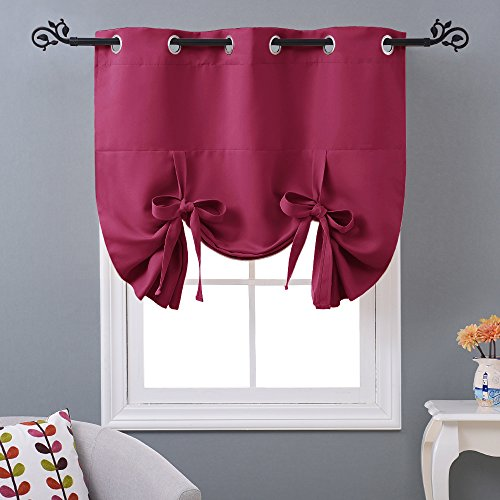 NICETOWN Thermal Insulated Pink Blackout Curtain - Tie Up Shade for Small Window (Grommet Top Panel, 46