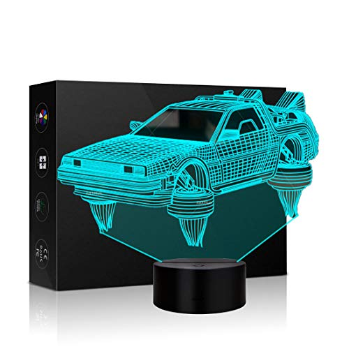 Car Shape 3D Illusion Night Light Lamp Touch Table Desk Lamps 7 Color Changing LED Lights Car Hologram Table Lamp Childrenroom Theme Decoration and Kiddie Family Holiday Gift (Spaceship Car)