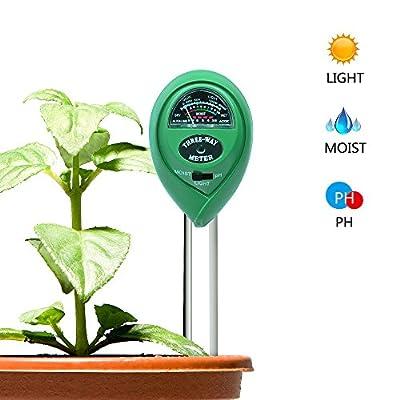 Locus Soil PH Meter, 3-In-1 Soil Moisture Meter, Light and PH Tester, Garden Soil Meter for Garden, Farm, Lawn, Indoor and Outdoor (No Battery needed)