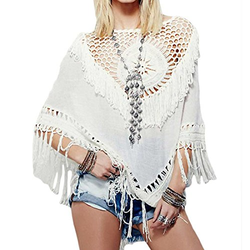 JOXJOZ Women's Boho Handmade Crochet Tassel Bikini Cover Up Beachwear Summer Poncho (White)