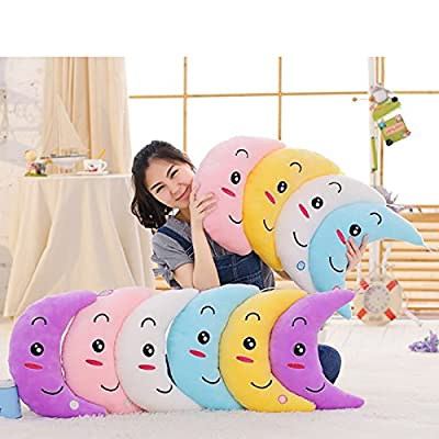 Supper Cute Light Up Smiling Moon Throw Pillow Cushion Plush Stuffed Toys - Sparkling Moon Plush Toy with 7 Colors Change LED Lighting (Blue, 35 X 15cm): Toys & Games