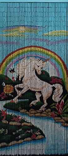 Bamboo Beaded Curtain-Unicorn (Bamboo Painted Beaded Curtain)