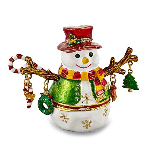 Jere Luxury Giftware Bejeweled Logan Snowman Tree, Pewter with Enamel Collectible Trinket Box with Matching Pendant Necklace