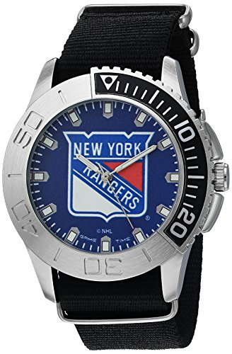 Game Time Men's 'Starter'  Metal and Nylon Quartz Analog  Watch, Color:Black (Model: NHL-STA-NYR)