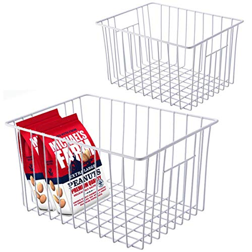 GCAT Metal Wire Organizer Freezer Baskets Storage Bin with Handles, 2 Pack Stackable Organizer Bins for Kitchen, Pantry, Refrigeator, Cabinet, Shelf, Coutertop and Laundry Room