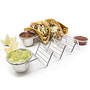 2 Pack - Stylish Stainless Steel Taco Holder Stand with Sauce Cup, Taco Truck Tray Style, Rack Holds Up to 3 Tacos Each, Oven Safe for Baking, Dishwasher and Grill Safe by Alpha Living