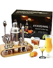 Juego de coctelera Coctelera de 750 ml Juego de herramientas de barra de acero inoxidable Juego de Bartender con soporte de exhibición de madera por AYAOQIANG