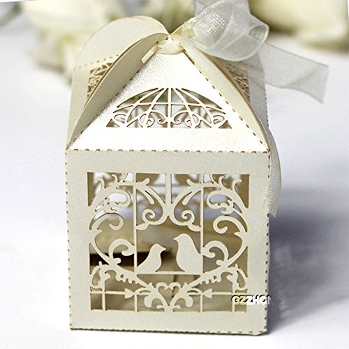 Rzctukltd Love Bird Luxury Lase Cut Wedding Sweets Candy Gift Favour Boxes with Ribbon Table Decorations (25, Ivory)