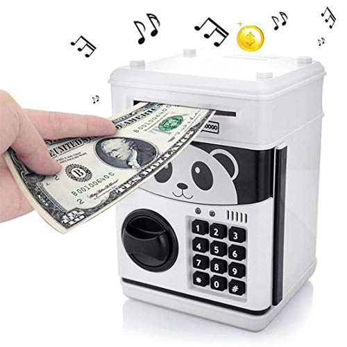 whatswhats Panda ATM Money Coin Piggy Bank Money Change Cash Saving Box Safe with Password Lock Toy Gift - Fits for Both Bills and Coins (Play 11 Songs)