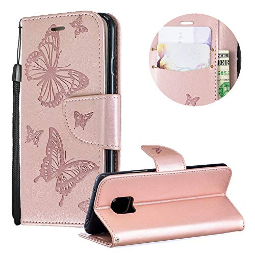 Huawei Mate 20 Pro Case,PU Leather Wallet Case for Huawei Mate 20 Pro,Moiky Luxury Rose Gold Butterfly Pattern Embossed Soft Leather Purse Flip Magnetic Stand Shockproof Case Cover with Card Slots - Lip Inner Gold Embossed