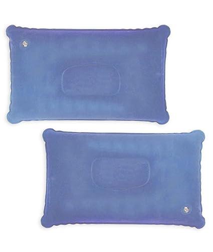 HOMETOOLS.EU® – 2 Cojines de Asiento para Cabeza, Plegables y hinchables, con válvula de Seguridad, Juego de 2 Unidades, Color Azul Claro