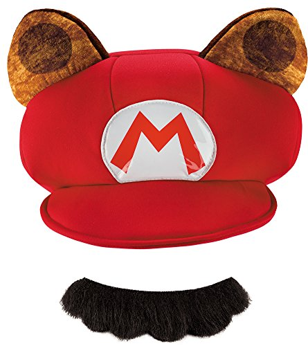 Mens Halloween Costume- Mario Raccoon Hat and Mustache Adult Costume Kit