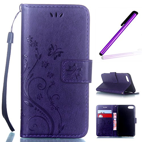 Dark Purple Case (7 Plus Case,iPhone 7 Plus Wallet Cover Case,LEECO Card Pockets Slots Wallet PU Leather Folio Kickstand Protective Case Cover for Apple iPhone 7 Plus 5.5 inch Butterfly Flower Dark)