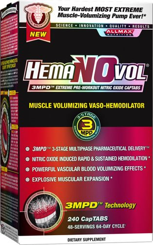 ALLMAX HemaNOvol, 3MPDTM Extreme Pre-Workout Nitric Oxide Captabs, Dietary Supplement, 240 CapTabs, 48 Servings, 64-Day Cycle