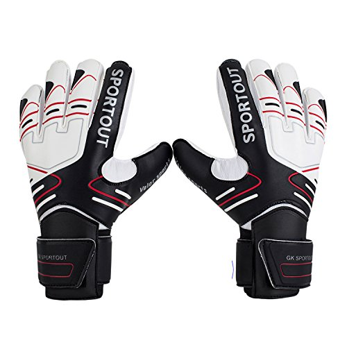 Youth&Adult Goalie Goalkeeper Gloves, Strong Grip for The Toughest Saves, with Finger Spines to Give Splendid Protection to Prevent Injuries 3 Colors(Size 7) - Kids Goalie Gloves
