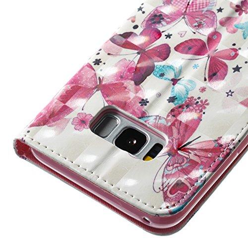 Galaxy S8+ / S8 Plus Hülle, Samsung Galaxy S8+ / S8 Plus (6,2 Zoll) Wallet Tasche Brieftasche Schutzhülle, Carols PU Lederhülle Flip Hülle im Bookstyle Cover Schale Stand Ständer Etui Karten Slot Schu Roter Schmetterling A
