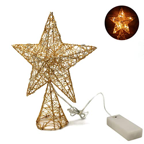 (CVHOMEDECO. Golden Tree Top Star with Warm White LED Lights and Timer for Christmas Ornaments and Holiday Seasonal Décor, 8-Inch)