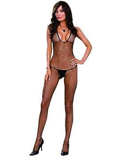 b64e73d25e9 Amazon.com  Plus Size Strappy Black Lace Bustier Bodystocking ...