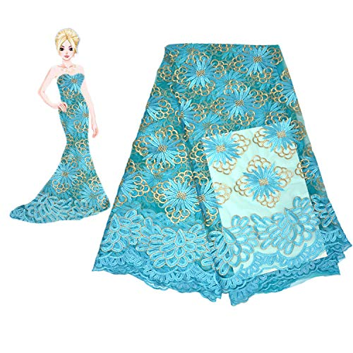KENLACE 5yards/lot French Nigerian Laces Fabric Tulle African Laces Fabric Wedding Part Dress African French Tulle Lace (Turquoise)