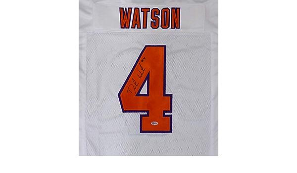 Clemson Tigers Deshaun Watson Autographed White Jersey Beckett BAS ...