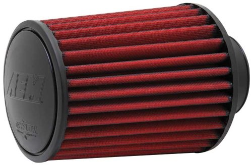 AEM 21-2027DK Universal DryFlow Clamp-On Air Filter: Round Tapered; 2.75 in (70 mm) Flange ID; 7 in (178 mm) Height; 6.25 in (159 mm) Base; 5.25 in (133 mm) Top ()