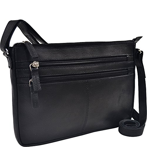 r-r-collections-three-zip-gusseted-crossbody-bag-black