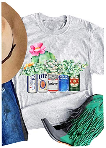 Babe Adult T-shirt - Women Busch Light Beer T-Shirt Cactus Graphic Adult Novelty Funny Casual Tee (L, Grey1)