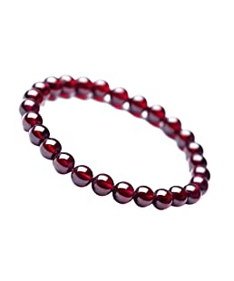 Sharplace Bracelet Perle Grenat Femme Pierre d'Energie Protection - Rouge