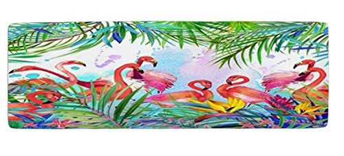 Ihome888 Custom Flamingo Bath Mats and Rugs, Flamingos with Tropical Leaves and Flowers Polyester Fabric Non Slip Rubber Backing for Bathroom Kitchen, 48L x 16W Inch,Green Pink