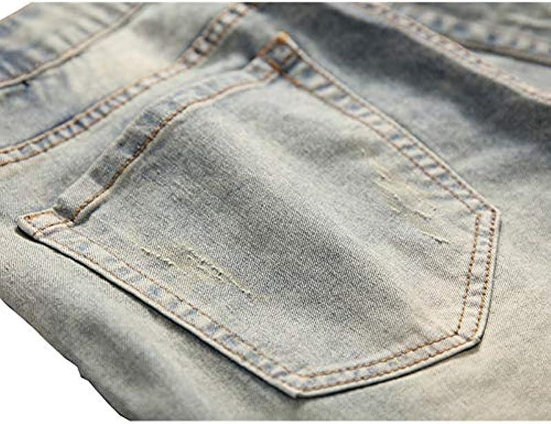 Geurzc dżinsy męskie rozrywane odznaki patki spodnie jeansowe moda osobowość wzÓr proste smukłe pasują dżinsy dla mężczyzn W28-W38: Odzież