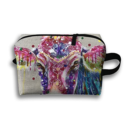 Create Magic - Colorful Cow Portable Travel Toiletry Pouch Waterproof Multi-purpose Storage Tote Tools Canvas Bag Cosmetic Makeup Bags With Zipper And Hanging Loop