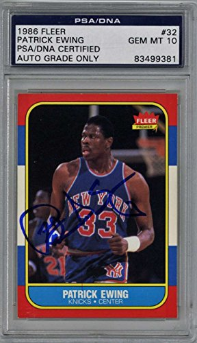 - Patrick Ewing Signed Autographed 1986 Fleer Basketball Card PSA/DNA 10 Auto