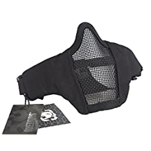 "OneTigris 6"" Tactical Foldable Half Face Protective Mesh Mask for Outdoor Paintball Airsoft/BB/CS with Adjustable and Elastic Belt Strap"