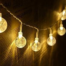 Solar String Lights, KEEDA 30 LED Crystal Ball Globe Fairy Patio Lights for Outdoor Garden (Warm White)