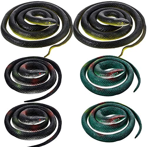 - Large Rubber Snakes Fake Snake Black Mamba Snake Toys for Garden Props to Scare Birds, Pranks, Halloween Decoration (6 Pieces, Style 2)