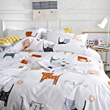 OTOB Cartoon Cats Print Twin Duvet Cover Sets for Kids White Grey 100% Cotton Reversible Comfortable 3 Pieces Girls Boys Cat Twin Bedding Sets with 2 Pillowcases Child Bedding Sets
