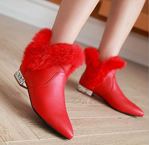 CHFSO Womens Elegant Waterproof Fully Fur Lined Pointed Toe Pull On Low Heel Wedding Ankle Winter Boots Red zrNnxL