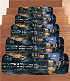 Non-Slip Carpets Stair Treads,Futuristic,Digital Paint Science Fiction Cityscape Architecture Cyberpunk Technology,Black Orange Blue,(Set of 5) 8.6''x27.5''
