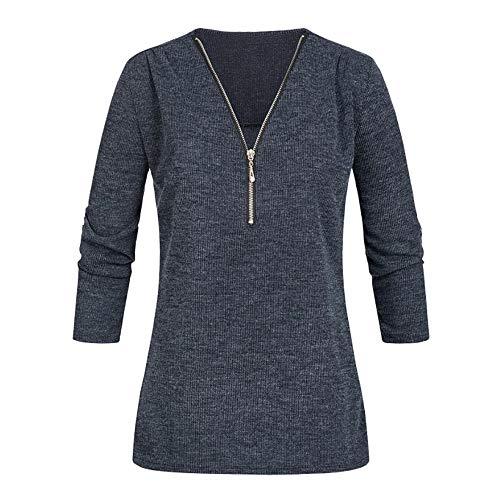 Big Teresamoon Womens Casual Tops Shirt Ladies V Neck Zipper Loose T-Shirt Blouse Tee ()