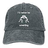 I'd Rather Be Wrestling 2 Unisex Washed Retro Denim Hats Adjustable Dad Hats Baseball Hat