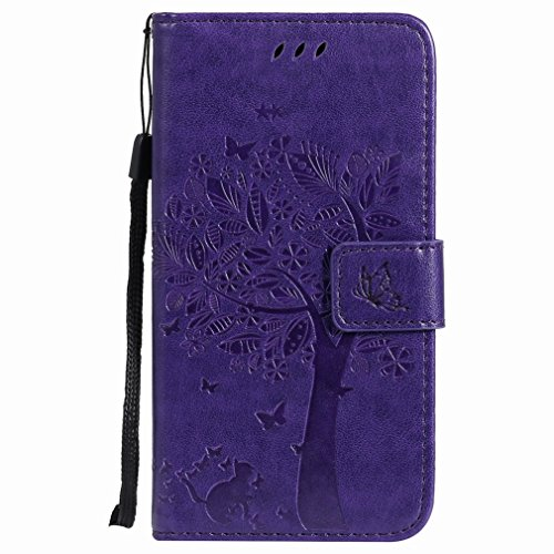 Yiizy Motorola Moto G5 Custodia Cover, Alberi Disegno Design Premium PU Leather Slim Flip Wallet Cover Bumper Protective Shell Pouch with Media Kickstand Card Slots (Porpora)