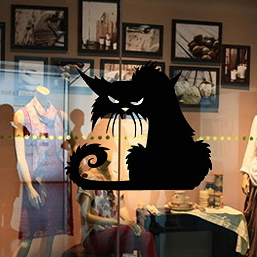 FORUU 2019 Wall Stickers Decals Murals Vinyl Removable 3D Wall Sticker Halloween Black Cat Decor for Walls DecalUnder 5 Dollars Discount New Arrival]()