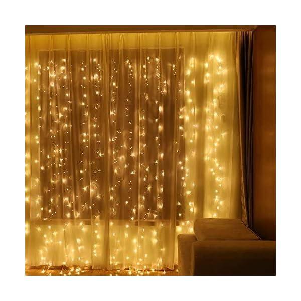 Uping Catena Luminosa Stringa di Luci 300 LED, per Festa Giardino Natale Halloween Matrimonio(Bianca Calda) 6 spesavip