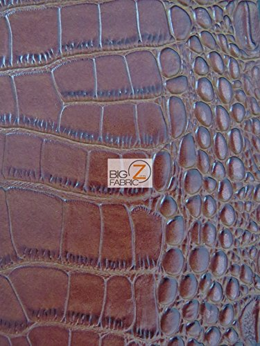 Big Z Fabric BIG NILE CROCODILE FAUX FAKE LEATHER VINYL FABRIC - Brown - SOLD BY THE YARD UPHOLSTERY SYNTHETIC GRAIN